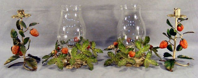 18Z: Two pair of Italian metal candle holders with stra