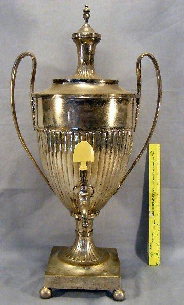 23Z: Large silverplate over brass urn, no markings, som