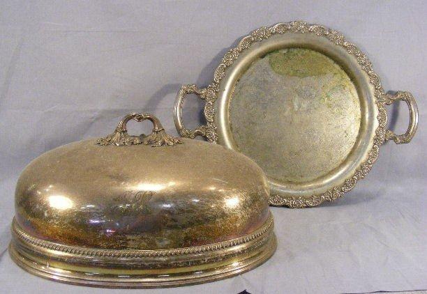 "24Z: Silverplate roast dome 17.5"", monogram, shallow de"