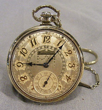 51N: Hamilton pocket watch, 17 jewel, 14K white gold fi