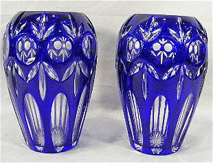 """Two cobalt blue cut to clear overlay vases, 8"""" high"""