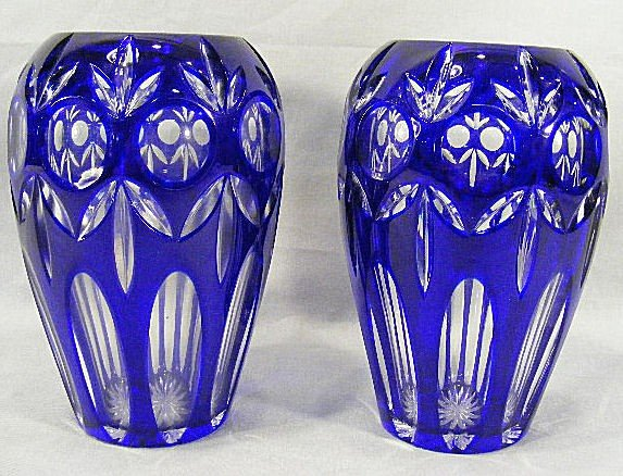 "1E: Two cobalt blue cut to clear overlay vases, 8"" high"