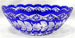 Cobalt cut to clear cut glass bowl, flower & leaf d