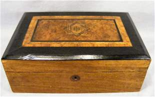 19th century inlaid lap desk, with ink bottles and