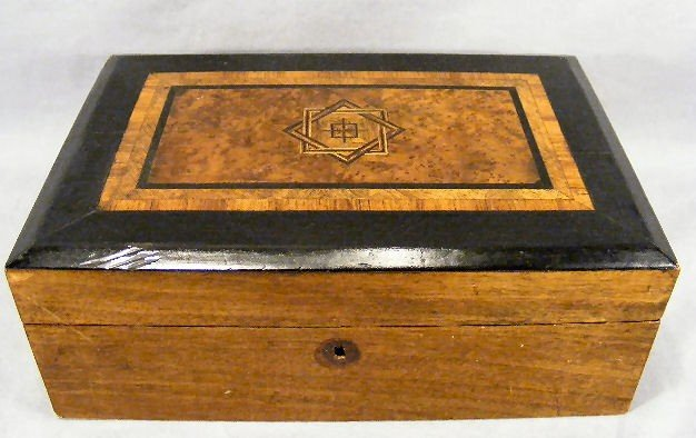 6E: 19th century inlaid lap desk, with ink bottles and