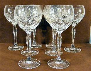 Set of 8 crystal wine glasses marked with a crown o