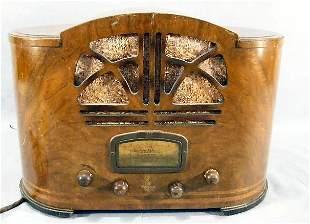 "Emerson inlaid veneer radio, stamped on bottom ""Ma"