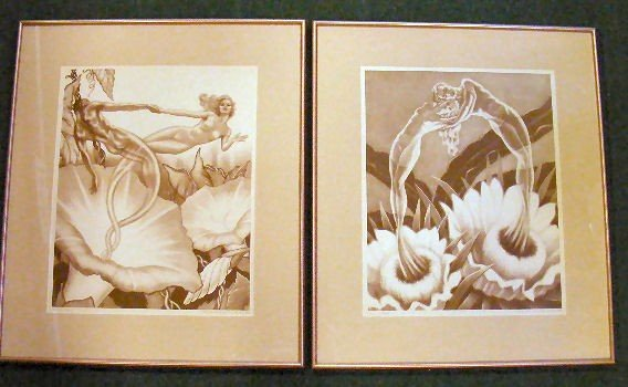 "11E: Pair of prints ""Flowers of Night"" and ""Morning Glo"