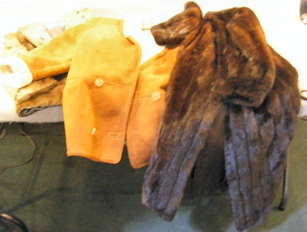 12K: Lot of suede coat with wool liner and 2 fur coats