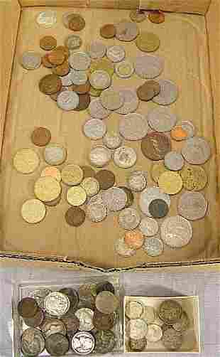 Lot of coins, some foreign silver, US coins, misc.