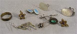 Sterling and silver jewelry, cufflinks, earrings,