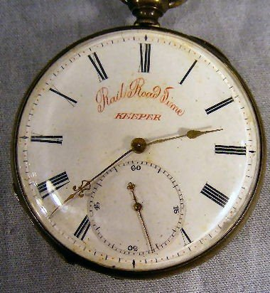 22A: Antique Rail Road Time Keeper pocket watch, cylind