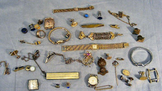 23A: Misc. costume jewelry, cufflinks, watches, plated