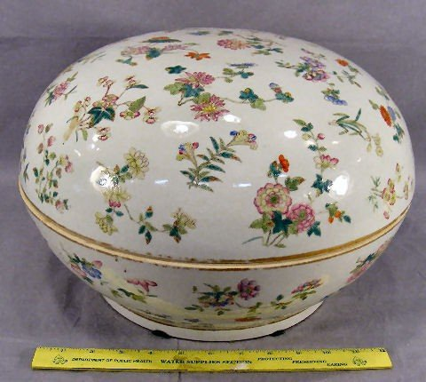 "53T: Large Chinese covered bowl measuring 15"" wide,  9"""