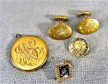 62P Gold jewelry Victorian locket tests as 14k cuf