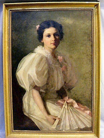 185P: Oil painting on masonite, portrait of a lady. Sig