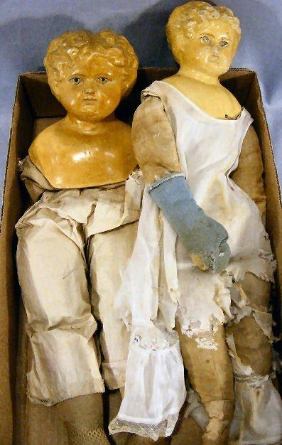 197A: Two paper mache shoulder head dolls, one detached