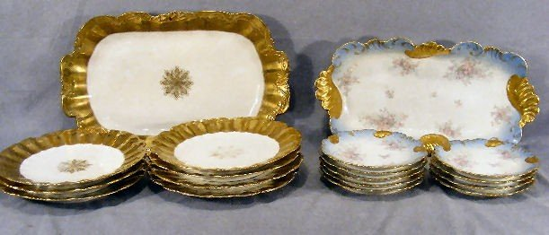 205K: Two Limoges platter & plate sets, gold & white se