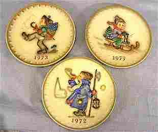Three Hummel plates, 1972, 1973 & 1975