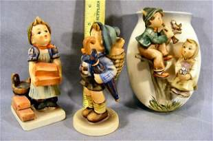 Two Hummel figurines 198/1, 305 and wall pocket 360