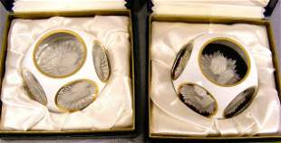 Two Baccarat overlay sulfide paperweights of Pope