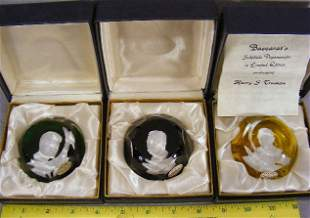 Three Baccarat sulfide paperweights, Teddy Rooseve
