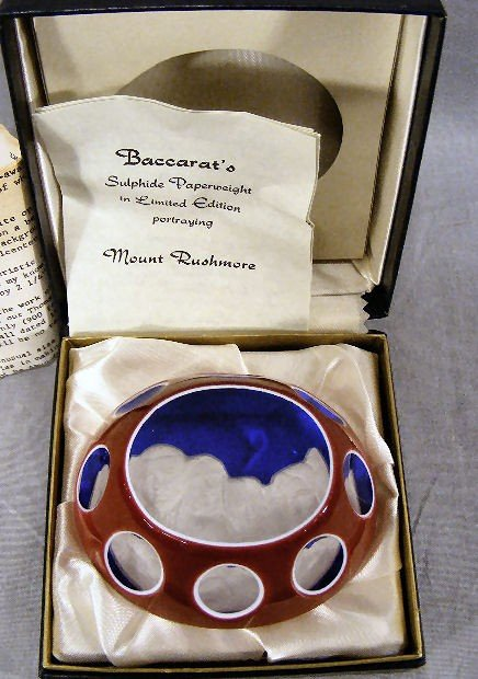 14G: Baccarat double overlay paperweight Mt. Rushmore,