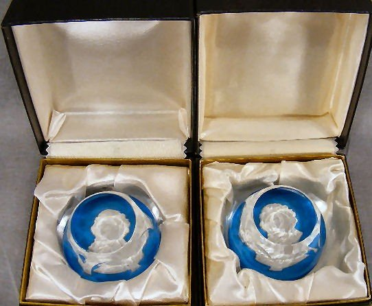 15G: Two Baccarat sulfide paperweights, Thomas Paine