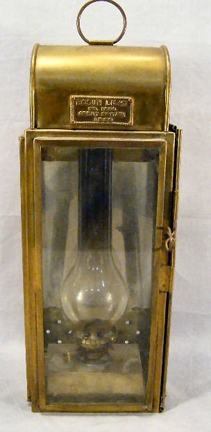 "18G: Brass Bosun lantern dated 1926, 19"" high to top of"