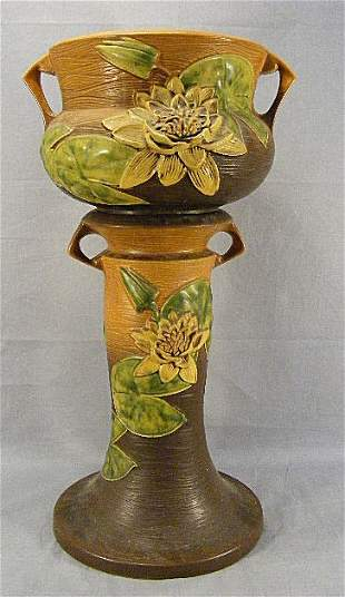 Roseville Water Lily jardinière & pedestal. Bowl h
