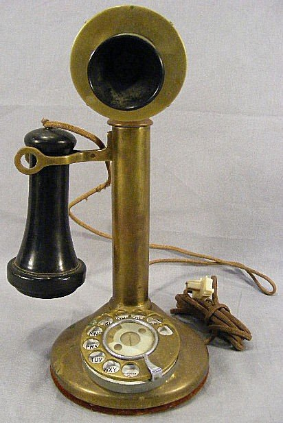 "32A: Brass 12"" stick phone American Bell Telephone Co."