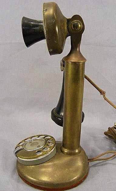 "32A: Brass 12"" stick phone American Bell Telephone Co.  - 2"