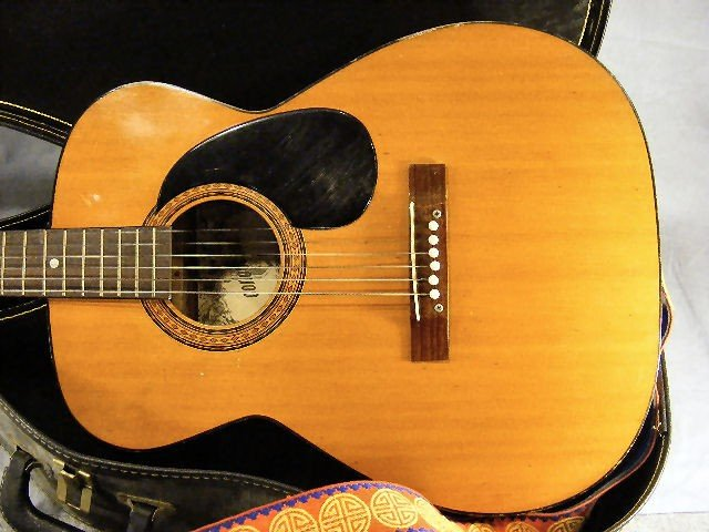 54A: Conqueror acoustic guitar, w/case. Finish/ wood is - 2