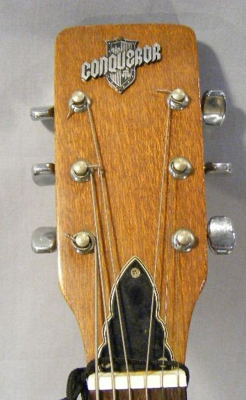 54A: Conqueror acoustic guitar, w/case. Finish/ wood is - 3