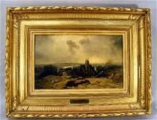 75K: 19th. Century oil painting on panel, European vill