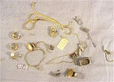 81A: Gold lot, 14k (15 grams) earrings, necklace, ladie