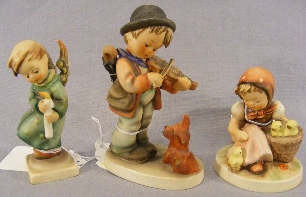1G: Lot of 3 Hummel figurines, Chick Girl has slight cr