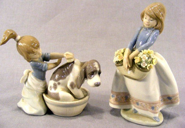 "5D: Lladro figurines #5455 girl with dog, 5"" high and #"