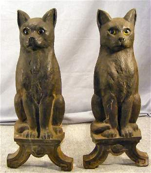 """Pair of cast iron cat Howes andirons, 17"""" high"""