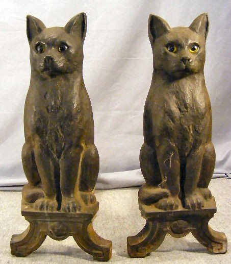 "7Z: Pair of cast iron cat Howes andirons, 17"" high"