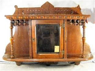 """Victorian cherry wall cabinet, beveled door, 34"""""""