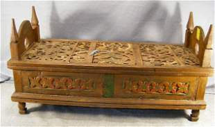 """Carved lift top chest, 18"""" high, 13.5"""" wide and 34"""
