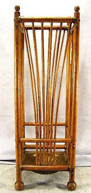 Oak stick & ball umbrella / cane holder, brass pan