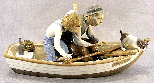 "13D: Lladro figurine ""Fishing with Grandpa"", 15.5"" long"