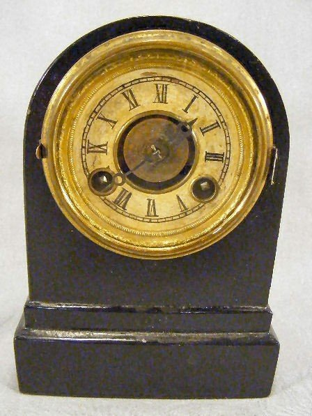 "15Z: Terry Clock eight day clock, metal case, 6"" high,"
