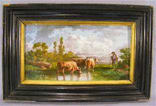 """Painting on tile of farmer with cows, 12.75"""" X 7""""."""