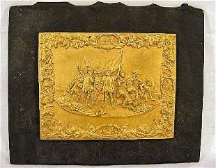 Cast commemorative bronze plaque of the landing of