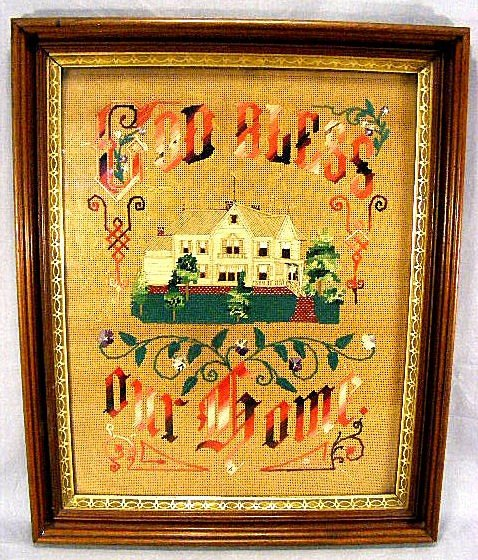 "21A: Large Victorian needle work ""God Bless Our House"""