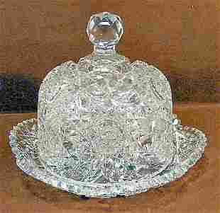 American Brilliant period cut glass covered butter