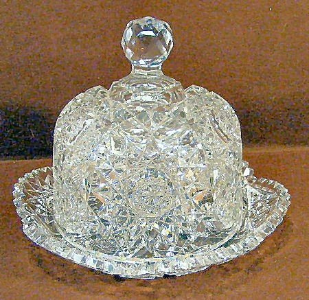 23K: American Brilliant period cut glass covered butter